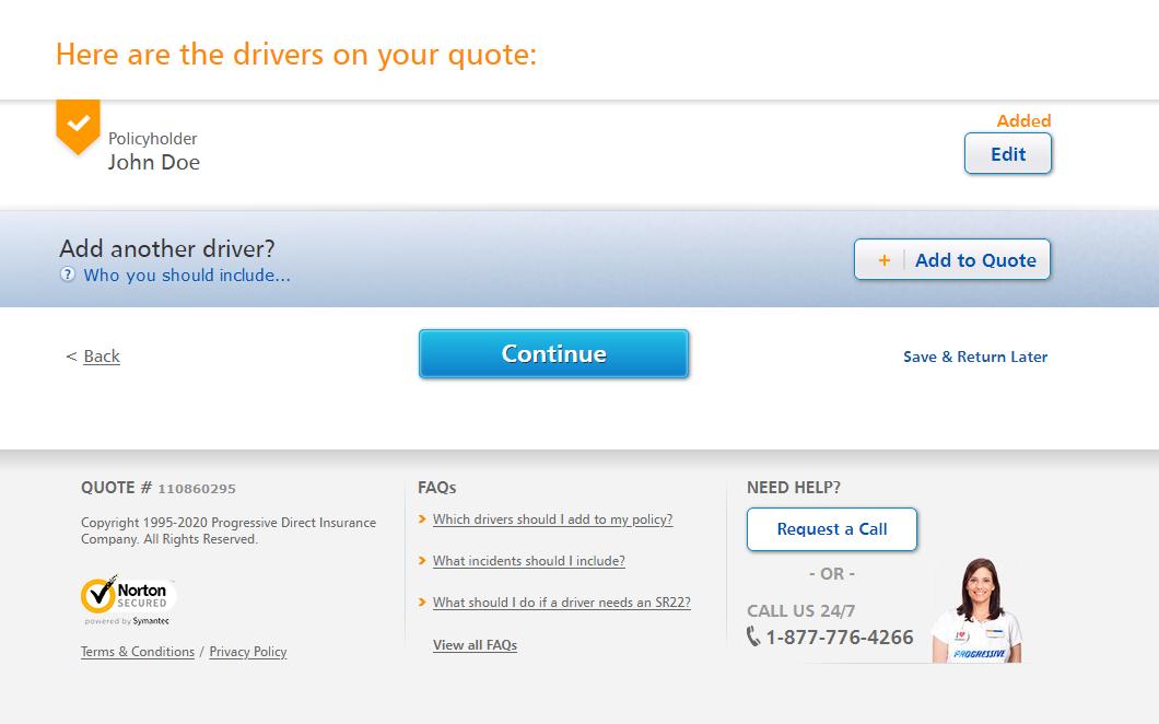 Progressive auto insurance quote add a driver
